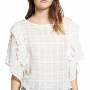 BP flutter ruffle sleeve plaid shirt ivory size xs